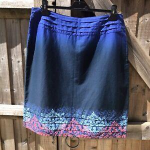 Fat Face Blue Campanula Cotton Summer Skirt Size 16 VGC