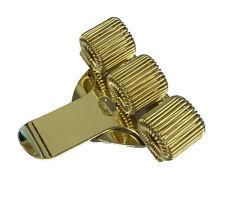 Gold Coloured Pen Pencil Spring Clip TREBLE Pocket Holder Pilot Nurse Doctor