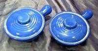 2 Vintage Blue Stoneware Casserole Dish Soup Chili Bowl Covered Lid/Handle USA H