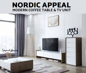 Modern TV Stand Entertainment Unit Coffee Table Drawer White Black Cabinet Glass