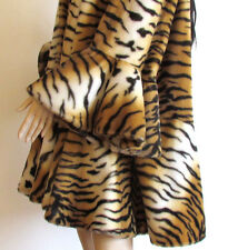 Rare Vintage Tiger Print Faux Fur Bell Sleeves Ruffle Bottom Swing Coat Large-XL