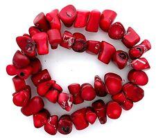 Red Coral Branch 2/5 to 1 1/10 Inch Bead 16 Inch Strand Gem Gemstone cb62