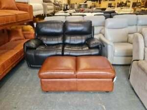 Ex-display Brown leather dual footstool with storage