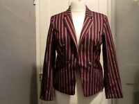 Purple, burgundy and cream striped jacket size 14