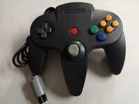 NINTENDO 64 BLACK CONTROLLER CONTROL GAME PAD * NEW N64