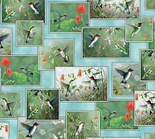 Hummingbirds Block Patch Bird Garden Flowers Quilting Treasures Fabric Yard