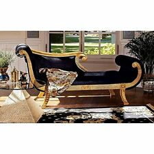 AF1602 - Cleopatra Neoclassical Chaise, Black and Gold - Hand Carved Mahogany