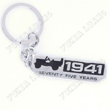 Sivler Black 1941 Seventy Five Years Car Keychain Key Ring for Jeep Willys 75th