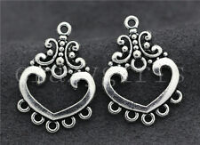 10/40/200pcs Tibetan Silver Exquisite Heart-shaped Charms Connectors DIY 26x19mm