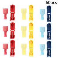 60pc Terminals Connectors T Tap Male Female Insulated Wire Quick Splice Scotch