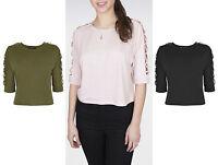 UK Casual Women Boat Neck Crop Top Plain Cross 3/4 Sleeve  Blouse Shirt 6-14