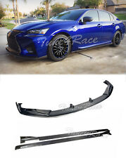 For 16-Up Lexus GS Carbon Fiber Front Lip Splitter W/ Side Skirts Lexon Style