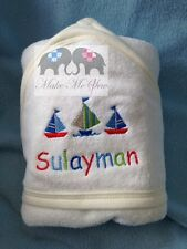 PERSONALISED BABY HOODED TOWEL- BOATS +NAME. NEWBORN BABYSHOWER NEW GIFT