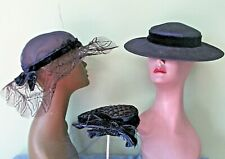 Ladies Vintage Navy Blue Hat Collection Of 3 / Great Wearable Condition