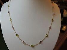 Collier or 18 carats améthystes et péridots