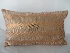 Sequin Copper Gold Waves Luxe French Chic Oblong Rectangle Cushion Cover 30x50cm