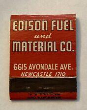 Vintage Matchbook Cover EDISON FUEL & MATERIAL CO. Kippers Coke New Castle