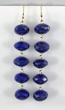 Genuine Lapis Lazuli (42.5ct) 14kt Yellow Gold Dangle/Drop Earrings, New