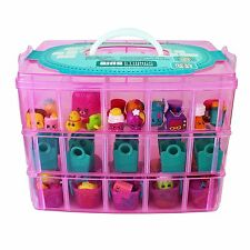 Stackable Storage Container Case Compatible With Shopkins Toys 3 Tiers Pink Pet