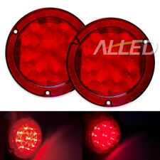 2x12v LED Red Tail Lights Brake Reverse Round Turn Signal Lamp Truck/Boat/Marine
