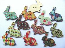BB BUTTONS PRINTED RABBITS pk of 10 wood bunny easter sewing craft animal