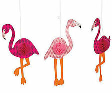 "3 BIG 15 1/2"" HANGING Pink Flamingo DECORATIONS Luau Tropical Beach Party"