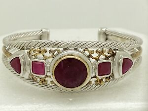 NF Thailand Sterling Silver Ruby Red Stone Cuff Bracelet 44.3g