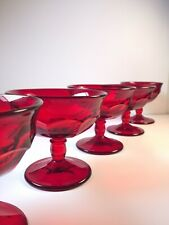 Vintage Ice Cream Sundae Glasses Red Ruby Glass