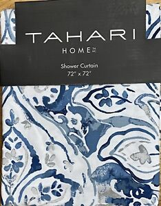 Tahari Home Blue Imperial Damask Fabric Shower Curtain Paisley