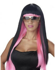 Diva Glam Pink/Black Lady Gaga Super Star Sexy Womens Fancy Dress Halloween Wig