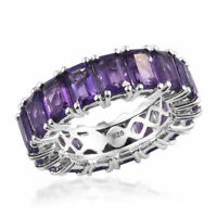 TJC 9.75 Ct Amethyst Eternity Ring in Platinum Plated Sterling Silver Size M