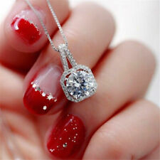 Jewelry Chain Statement Choker Necklace Xmas Gift Square Crystal Charm Pendant