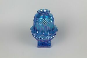 """WESTMORELAND Wakefield ☆ 6 1/2"""" Footed Blue Iridescent Carnival Glass FAIRY LAMP"""