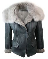 Ladies Women Biker Style Shearling Sheepskin Aviator Flying Leather Jacket Grey