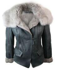 Ladies Women Biker Style Shearling Sheepskin Aviator Flying Leather Jacket Grey