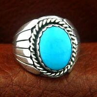 Native American Men's Sterling Silver Turquoise Ring  - Select Size ---- R72 Z