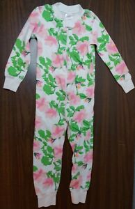 Hanna Andersson One Piece Zip Up Pajama Floral 3T Euc