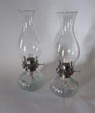 NEW LOT OF 2 OIL LAMP KEROSENE LANTERN LAMP VINTAGE CLEAR GLASS WICK METAL