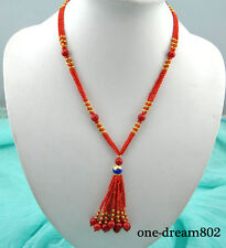 """3strand 20"""" 8mm nature round red coral bead silver fish necklace pendant"""