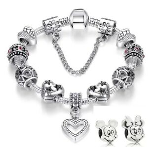 21CM Bracelet 11 Charms 925S Silver Plate Heart + Mickey And Minnie Mouse Free