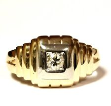 14k yellow white gold .21ct I1-2 I diamond solitaire mens ring 4.6g gents
