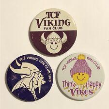 Vintage Minnesota Vikings TCF Bank Fan Club Pinback Button Lot Set Of 3 Pins