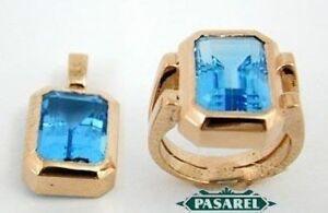 9k Gold Blue Topaz Ring & Pendant Set