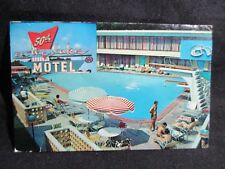 50th On The Lake Motel Retro Pools Umbrellas Chicago Neon AAA Vintage Postcard