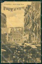 Napoli Città Via di Basso Porto Mercato ABRASA cartolina VK1015