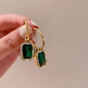 Fashion Green Rhinestone Crystal Hook Drop Earrings Women Wedding Charm Jewelry