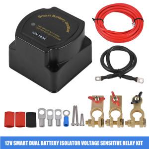 12V 140Amp Car RVs Dual Power Smart Battery Isolator Voltage Sensitive Relay Kit