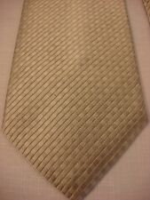 GEOFFREY BEENE Men's Silk Neck Tie - SILVER tiny squares repeat Diagonal Stripes