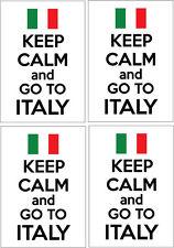 KEEP CALM AND GO TO ITALY - Italian / Europe x 4 VINYL STICKERS 14cm x 9cm