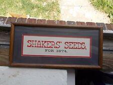 "SHAKERS SEEDS FOR 1874 WOOD FRAMED NEEDLEWORK ADVERTISING SIGN 18 1/2""LONG"